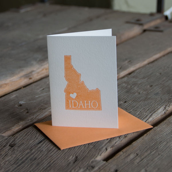 Idaho Heart Card, available in four colors, letterpress printed eco friendly