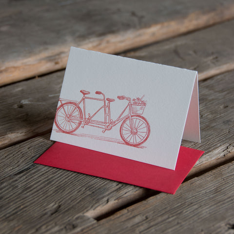 Tandem bike letterpress card, eco-friendly perfect way to show your love