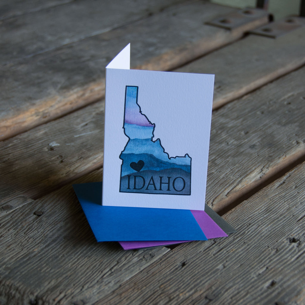Idaho Heart Card, watercolor letterpress printed eco friendly