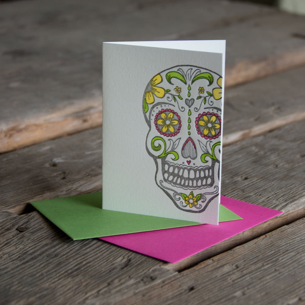 Sugar Skull card, hand drawn, letterpress printed eco friendly