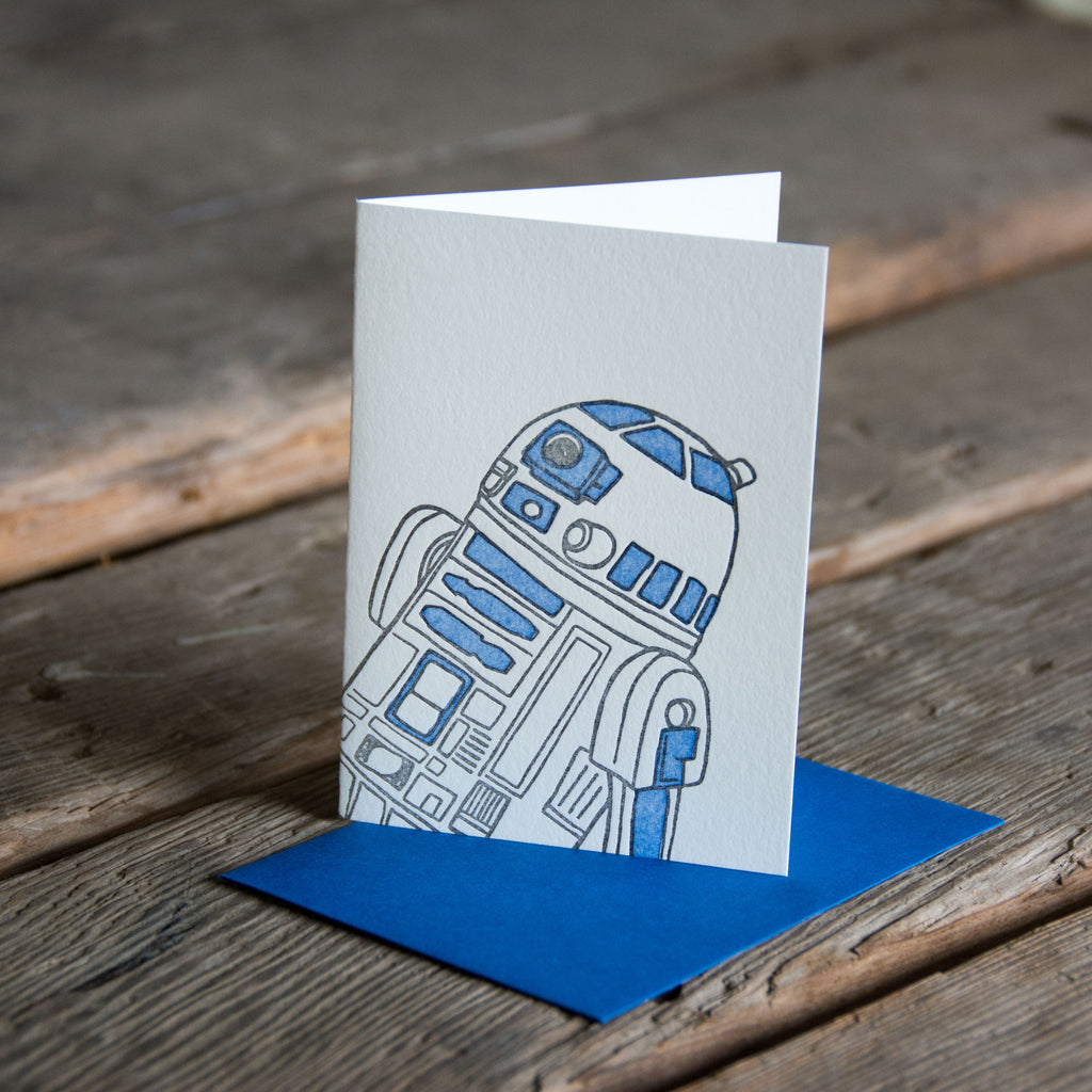 Droid Card, letterpress printed eco friendly