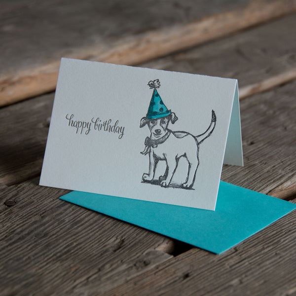 Limited Edition Jack Russell Card, with hand watercolored hats, single card