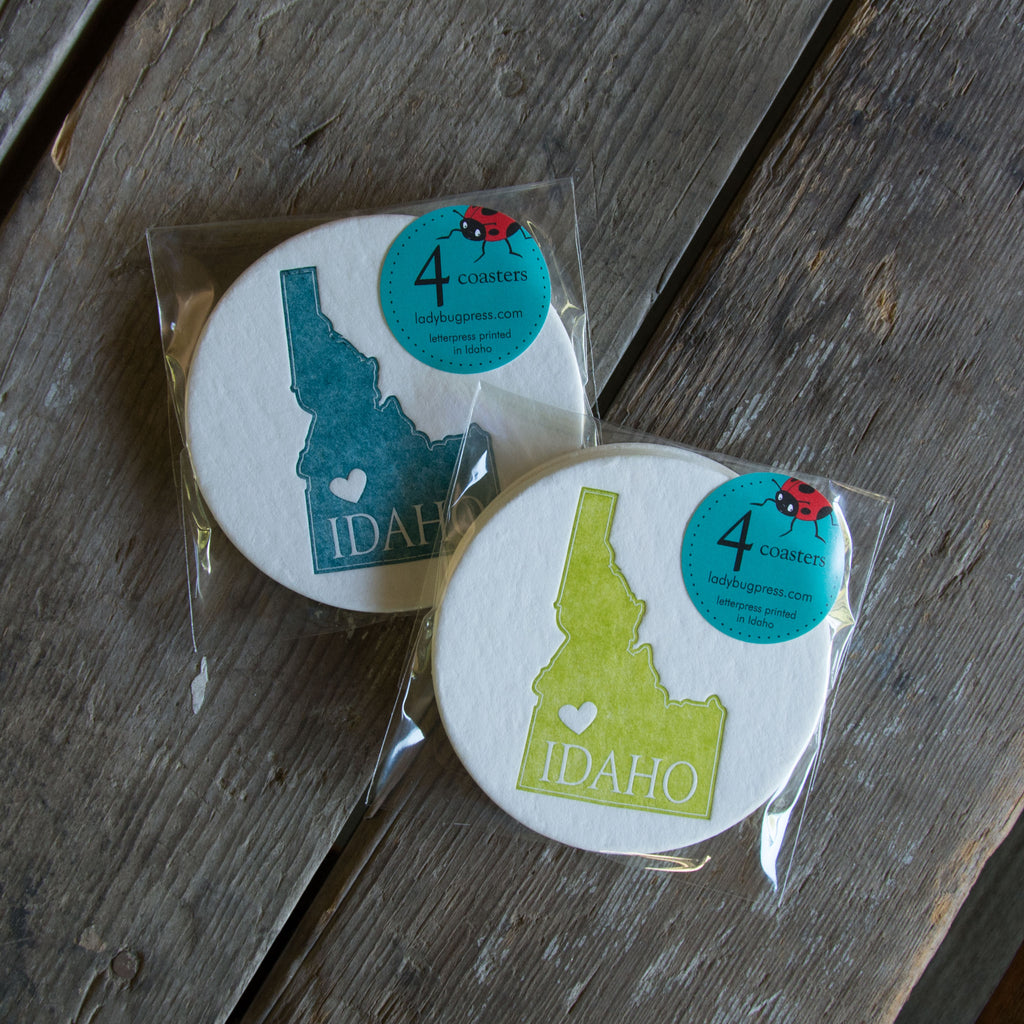 Idaho Heart Coasters, (Letterpress printed, 3.5 inches) set of 4
