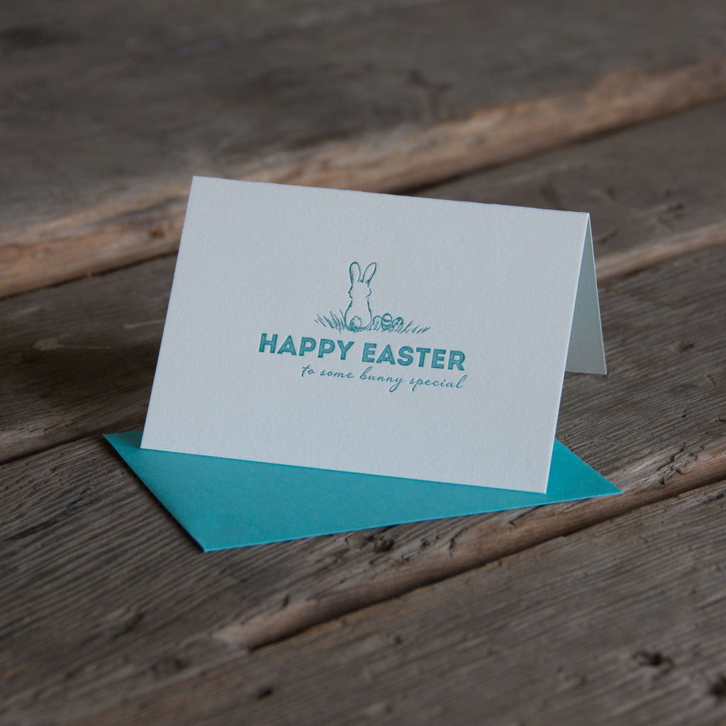Happy Easter to some bunny special, letterpress printed card. Happy easter. Eco friendly