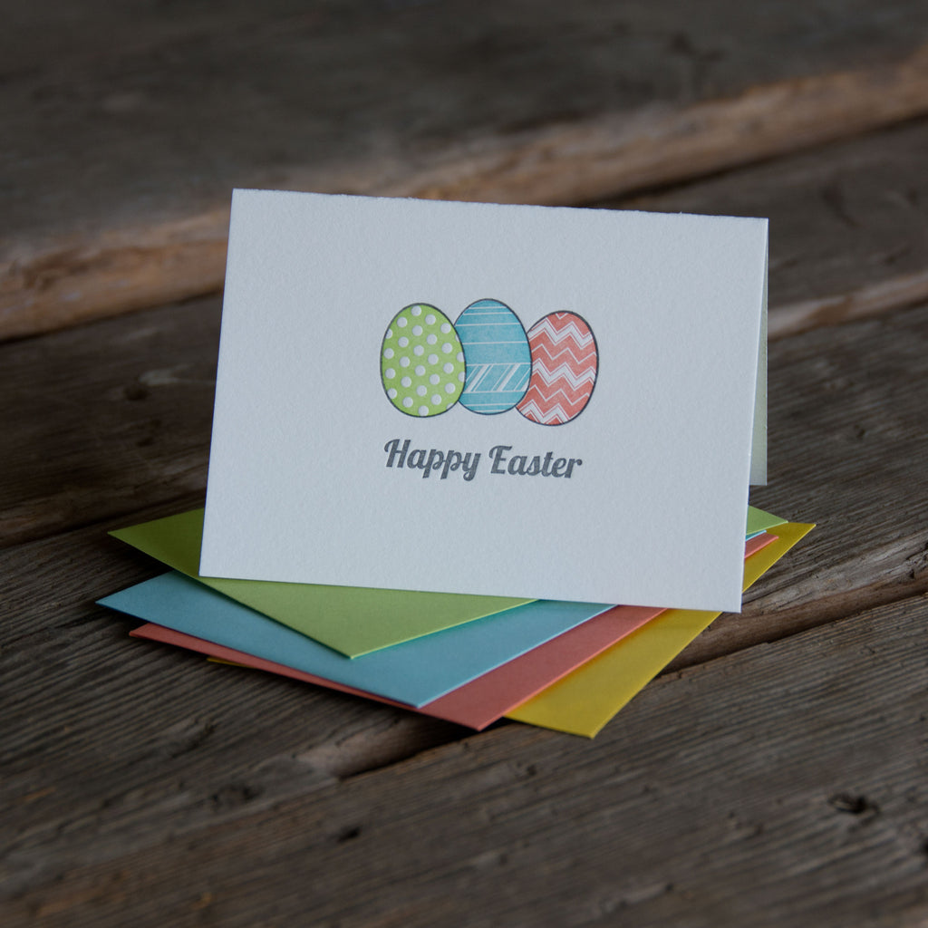 Happy Easter colorful eggs, letterpress printed card. Happy easter. Eco friendly