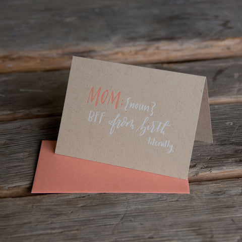 MOM definition, letterpress printed card. Eco friendly