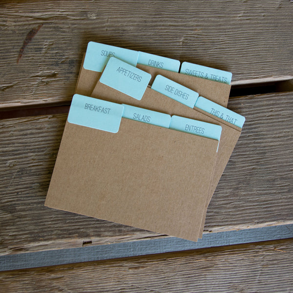 9 recipe card dividers, letterpress printed tabbed dividers with no recipe cards