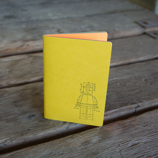 Minifig Notebook, staple bound, letterpress printed eco friendly blank journal