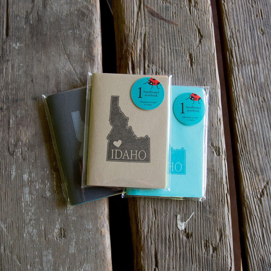 Idaho Notebook, staple bound, with heart, letterpress printed eco friendly