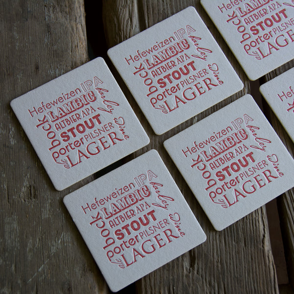 BEER types Coasters, Types of BEER modern design