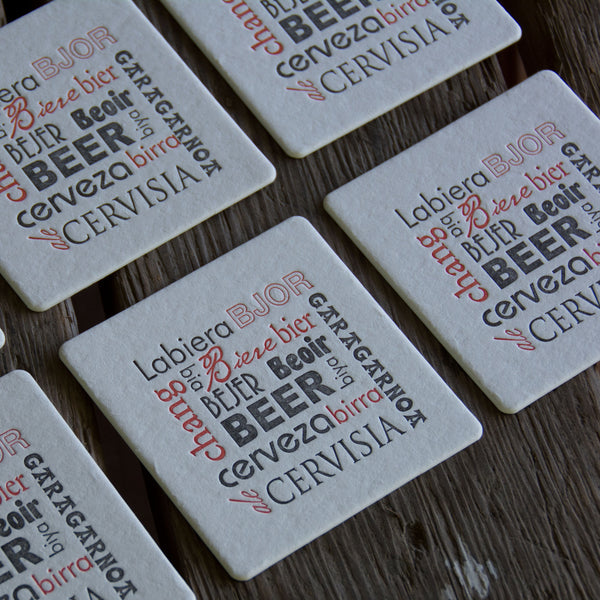 BEER language Coasters, modern design, letterpress printed