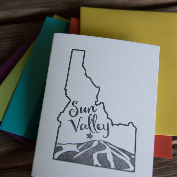 Sun Valley Idaho, Baldy Mountain letterpress printed card eco friendly