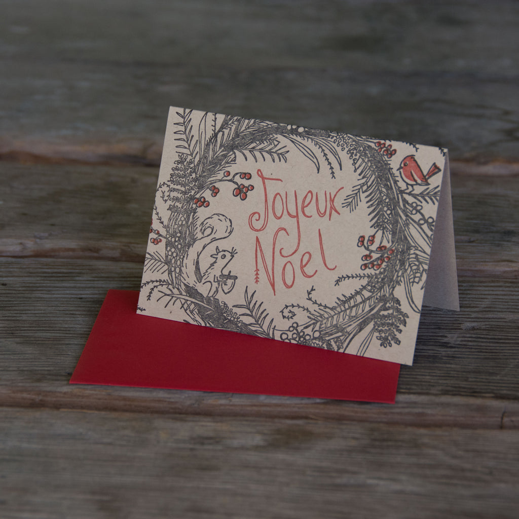 Joyeux Noel Woodland Wreath Holiday card, letterpress printed, eco friendly