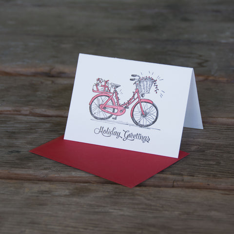 Bike Holiday Cards, letterpress printed, Cruiser bike with holiday lights and presents