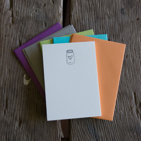 Mason Jar Stationery Set, 10 pack, letterpress printed eco friendly.
