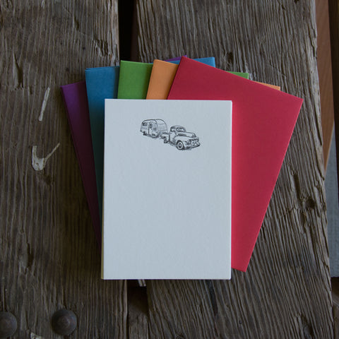 Vintage Truck Stationery Set, 10 pack, letterpress printed eco friendly