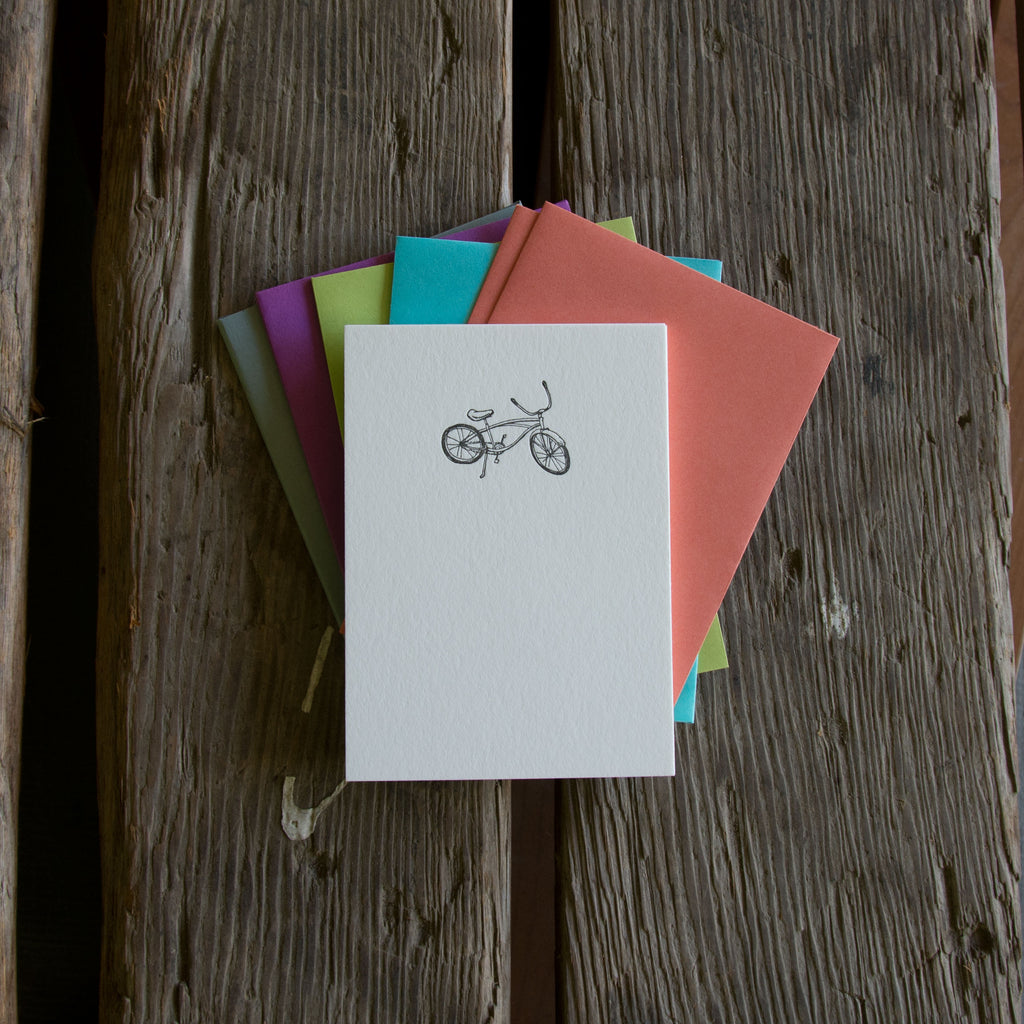 Bike Stationery Set, 10 pack, letterpress printed eco friendly.