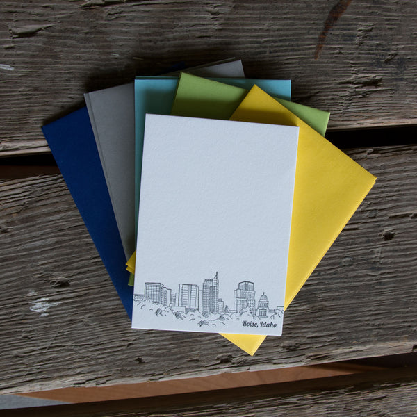 Boise Idaho Skyline Stationery Set, letterpress printed eco friendly