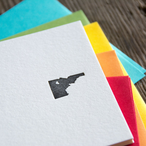 Idaho Heart Note Cards 10 pack, letterpress printed eco friendly