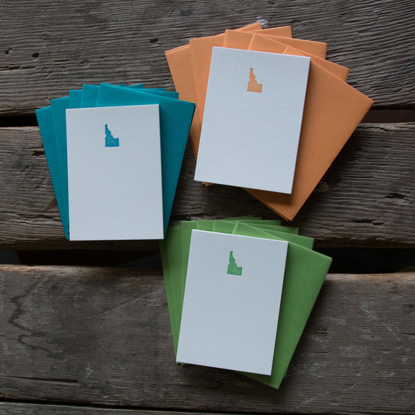 Idaho Note Cards 10 pack, letterpress printed eco friendly