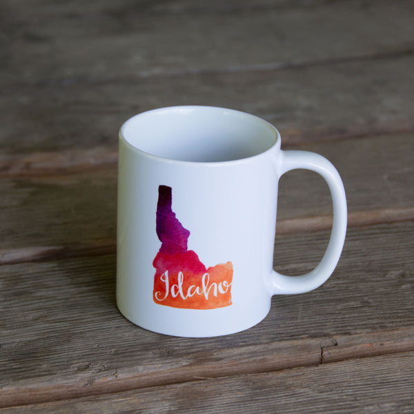 Idaho Watercolor MUG, water color and typography