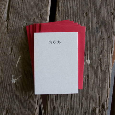 XOX Stationery Set, 10 pack, letterpress printed eco friendly.