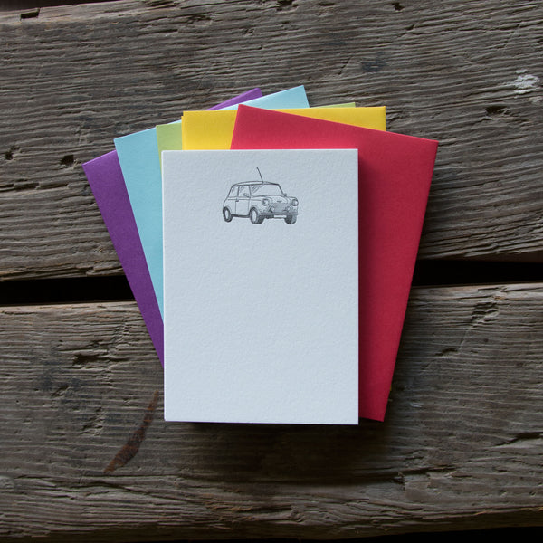 Mini Cooper Stationery Set, 10 pack, letterpress printed eco friendly.