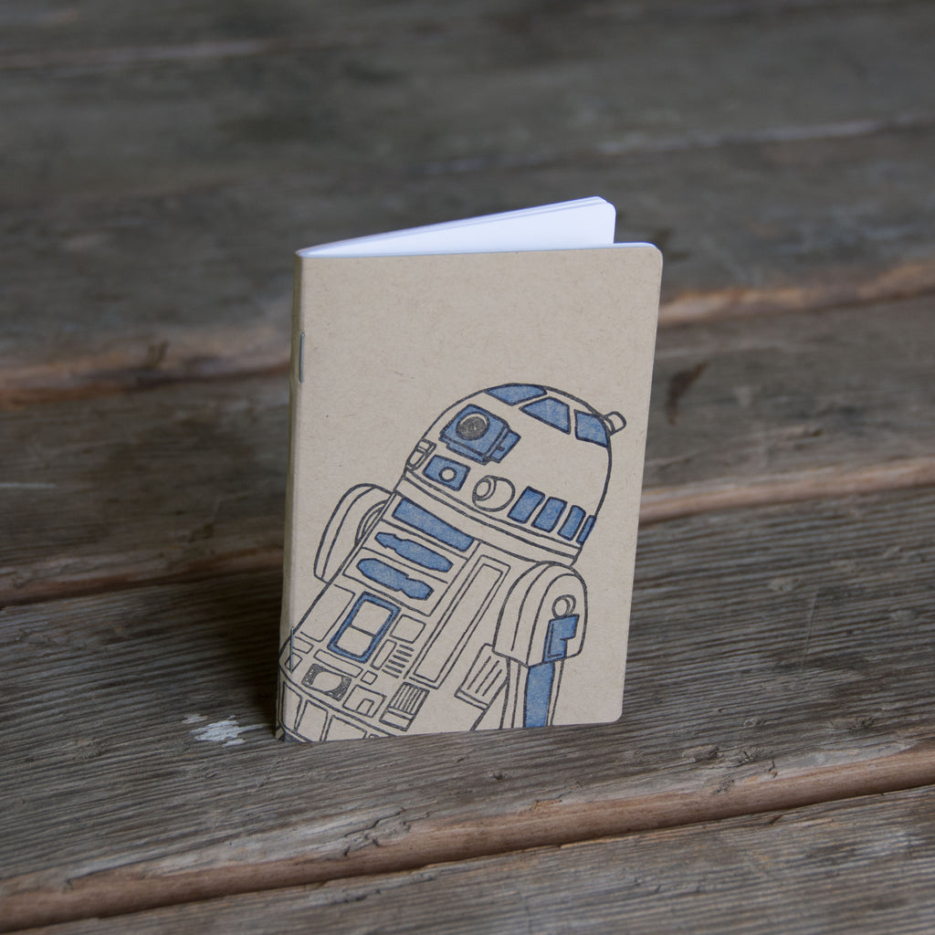 Droid Notebook, hand drawn and staple bound, letterpress printed eco friendly
