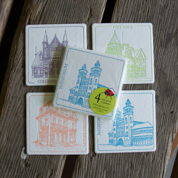 BOISE Lost Treasures Coasters, (Letterpress printed, 3.5 inches) set of 4, perfect gift