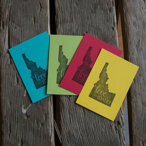 Love from Idaho Postcard, letterpress printed eco friendly