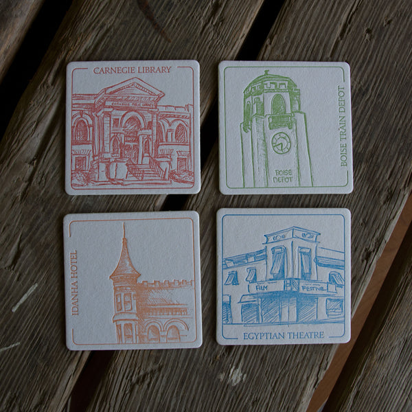 BOISE Coasters, (Letterpress printed, 3.5 inches) set of 4