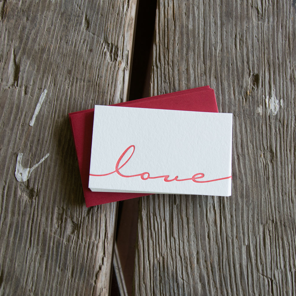 Set of 6 Mini LOVE notes letterpress cards, eco-friendly perfect for love of your life