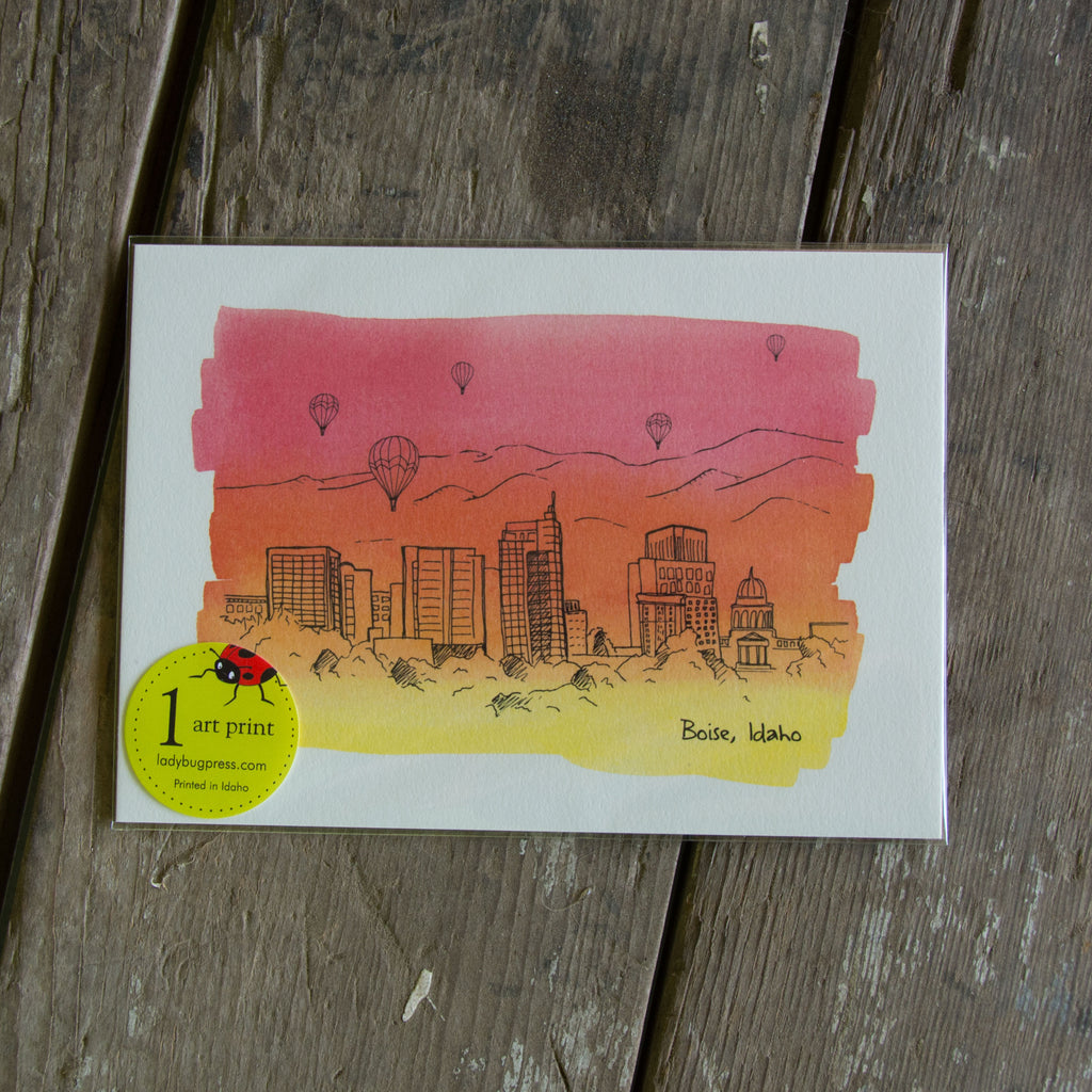 5x7 Boise Skyline Water Color Wash art print, eco friendly