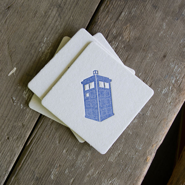 Tardis Coasters, charcoal ink (Letterpress printed, 3.5 inches) set of 4