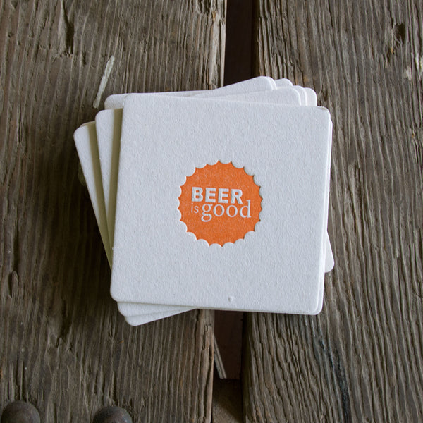 BEER is GOOD Coasters, modern beer cap design