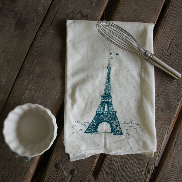 Eiffel Tower Screen Printed Tea Towel, flour sack towel