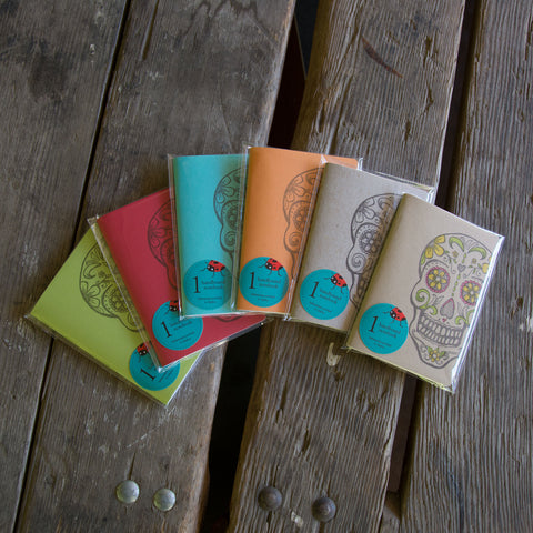 Sugar Skull Notebooks, hand drawn and staple bound, letterpress printed eco friendly blank journal