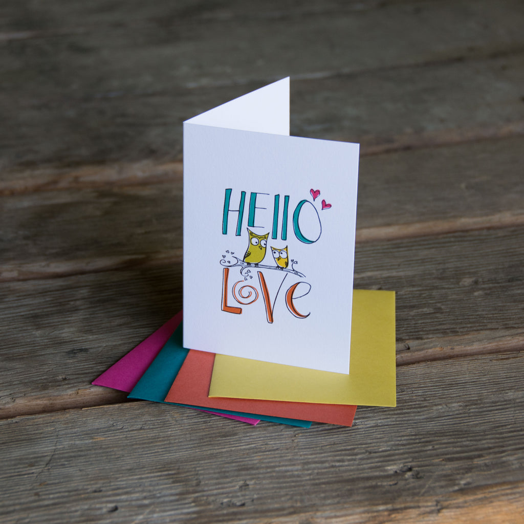 Hello Love owl card, letterpress printed hand drawn type and owl eco friendly
