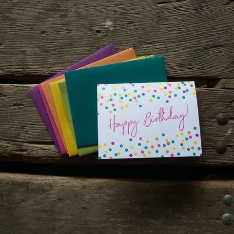 Happy Birthday Confetti, letterpress printed greeting card