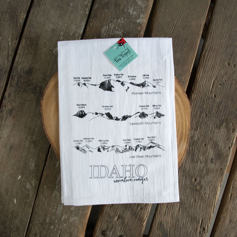 Idaho Mountain Ranges Screen Printed Tea Towel, flour sack dish towel