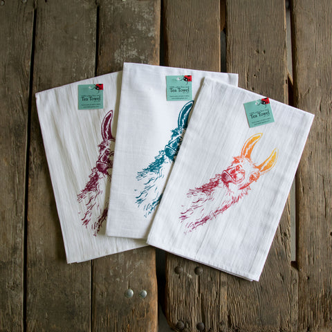 Llama Screen Printed tea towel, flour sack towel
