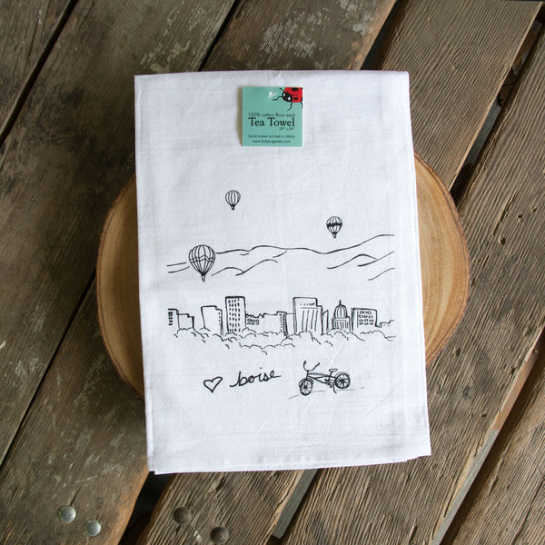 Boise Balloon Screen Printed Tea Towel, flour sack towel
