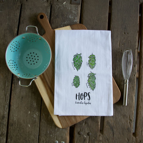 Hops Screen Printed Tea Towel, flour sack towel