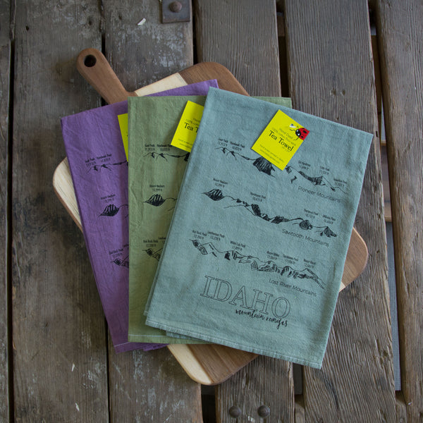 Hand dyed Idaho Mountain Ranges Screen Printed Tea Towel, flour sack towel