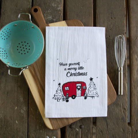 Merry Little Christmas Screen Printed Tea Towel, flour sack towel