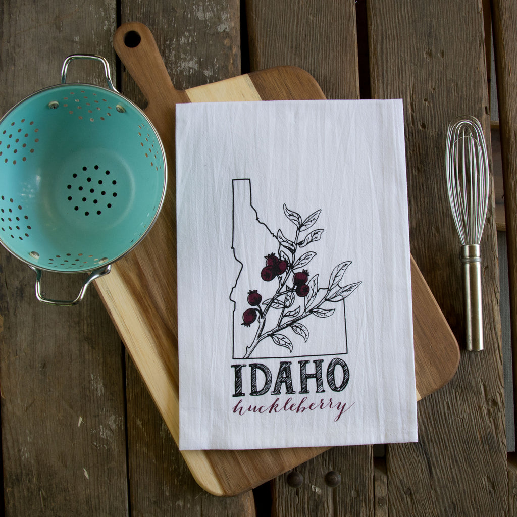 Idaho Huckleberry Screen Printed Tea Towel, flour sack towel