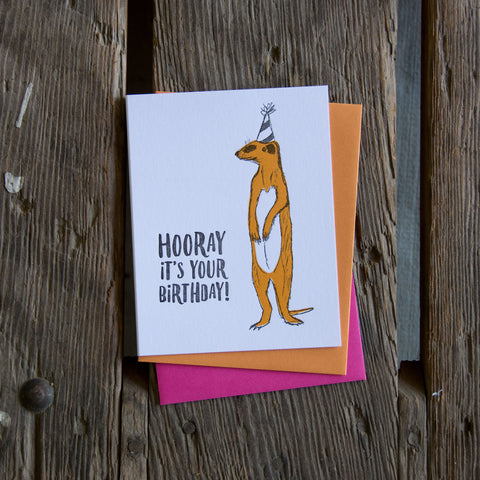 Hooray meerkat, birthday illustration letterpress eco friendly