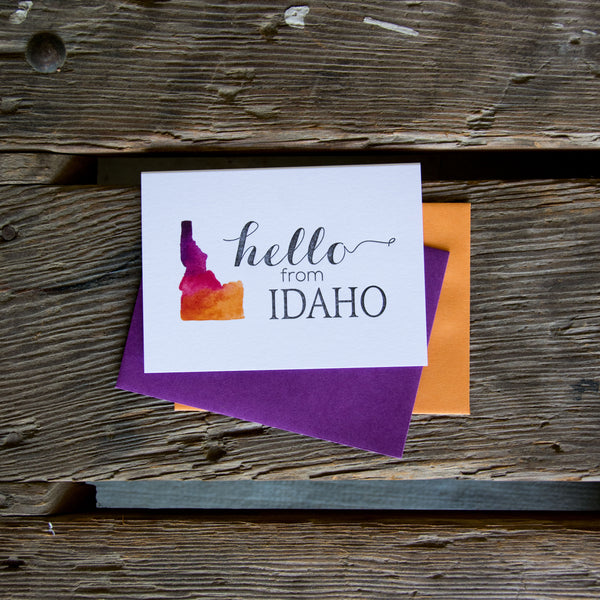 Hello from Idaho, letterpress printed eco friendly