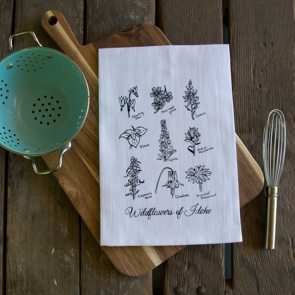 Wildflowers of Idaho Screen Printed Tea Towel, flour sack dish towel