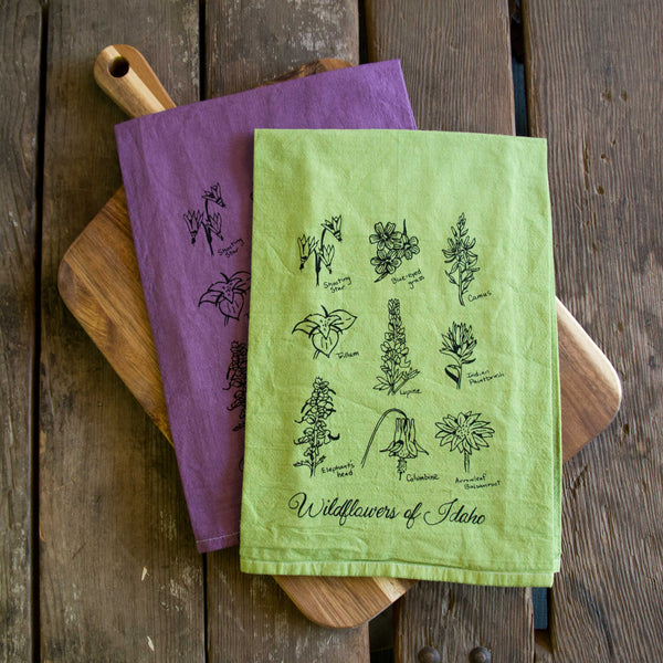 Hand Dyed Wildflowers of Idaho Screen Printed Tea Towel, flour sack dish towel